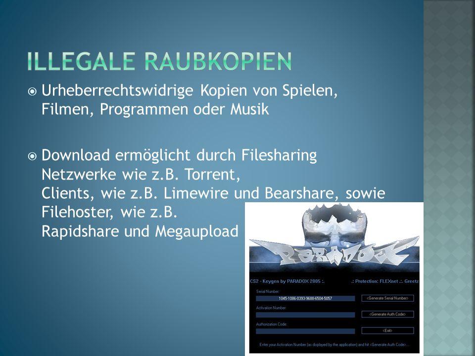  Urheberrechtswidrige Kopien von Spielen, Filmen, Programmen oder Musik  Download ermöglicht durch Filesharing Netzwerke wie z.B. Torrent, Clients,