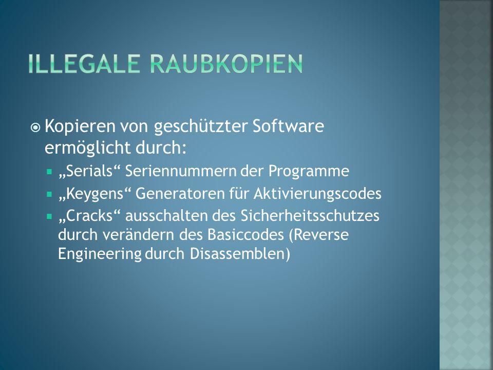 """ Kopieren von geschützter Software ermöglicht durch:  """"Serials"""" Seriennummern der Programme  """"Keygens"""" Generatoren für Aktivierungscodes  """"Cracks"""""""