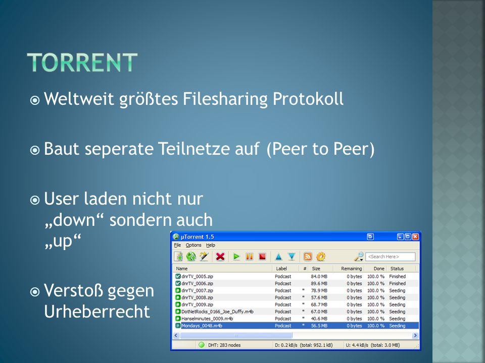 """ Weltweit größtes Filesharing Protokoll  Baut seperate Teilnetze auf (Peer to Peer)  User laden nicht nur """"down sondern auch """"up  Verstoß gegen Urheberrecht"""
