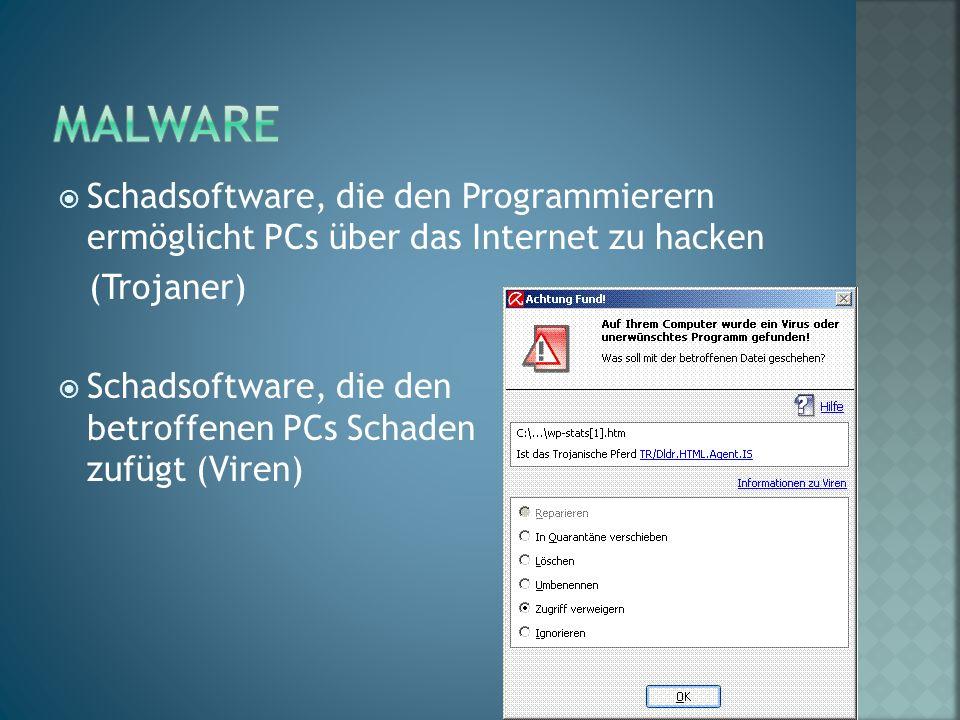 Schadsoftware, die den Programmierern ermöglicht PCs über das Internet zu hacken (Trojaner)  Schadsoftware, die den betroffenen PCs Schaden zufügt (Viren)