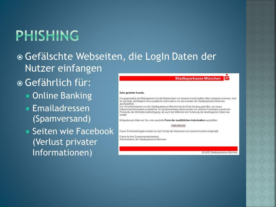  Gefälschte Webseiten, die LogIn Daten der Nutzer einfangen  Gefährlich für:  Online Banking  Emailadressen (Spamversand)  Seiten wie Facebook (Verlust privater Informationen)