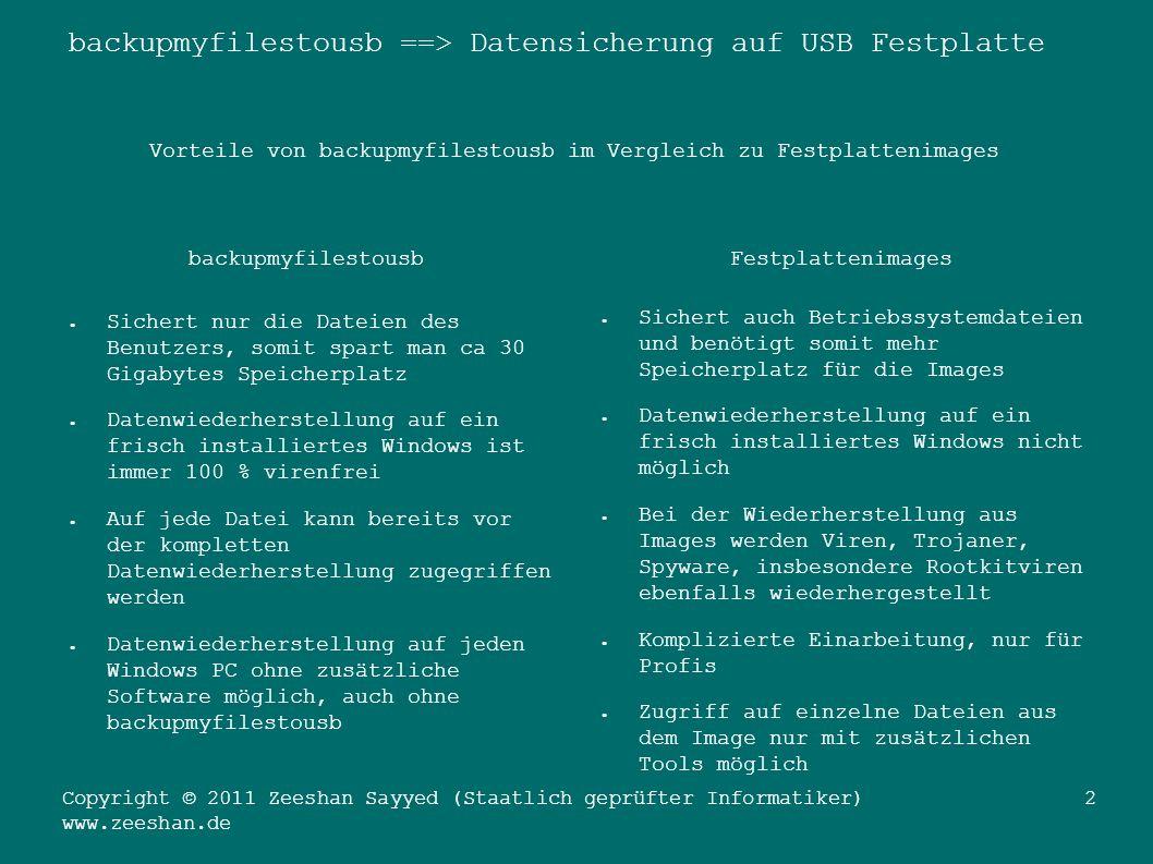 backupmyfilestousb ==> Datensicherung auf USB Festplatte Copyright © 2011 Zeeshan Sayyed (Staatlich geprüfter Informatiker) www.zeeshan.de 13 Ende der Präsentation.