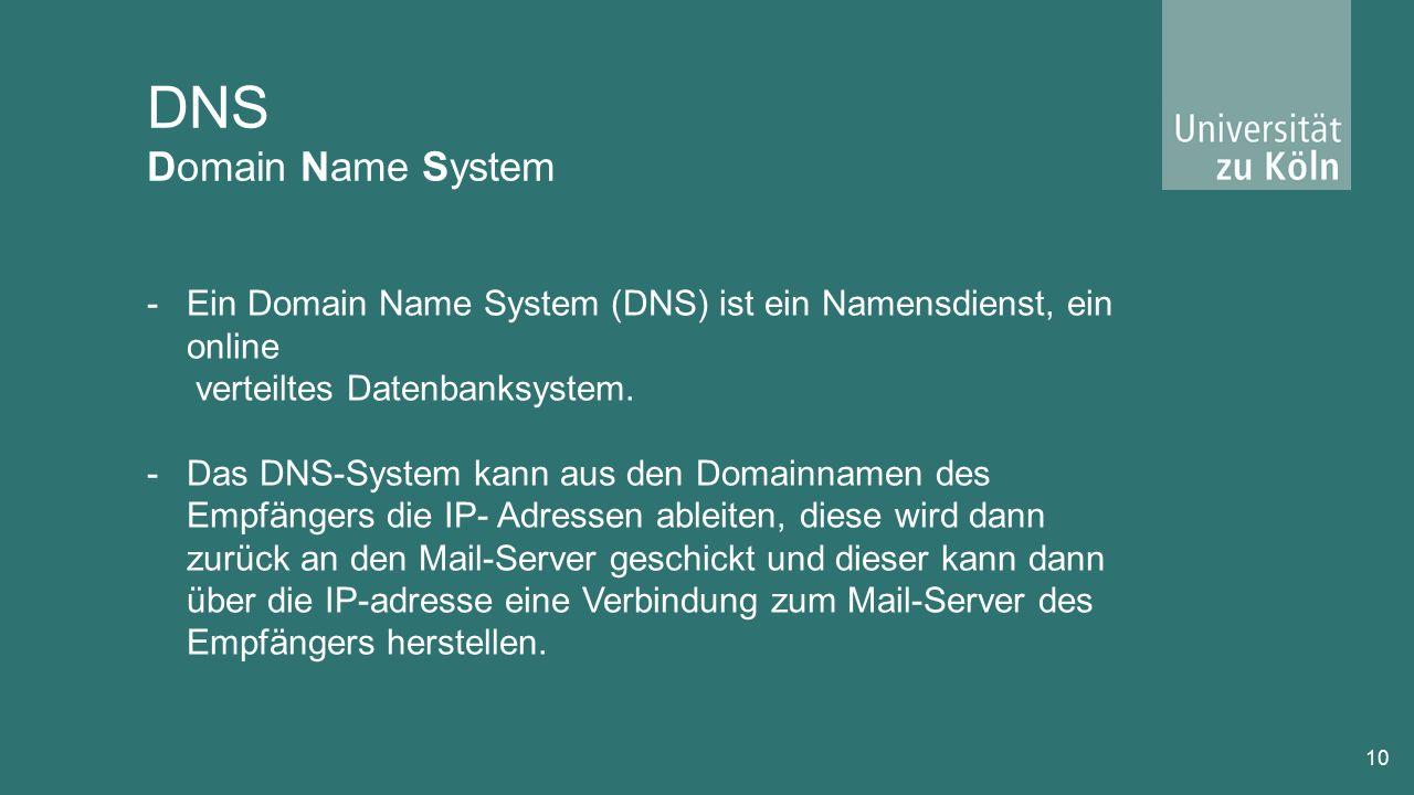 DNS Domain Name System 10 -Ein Domain Name System (DNS) ist ein Namensdienst, ein online verteiltes Datenbanksystem.