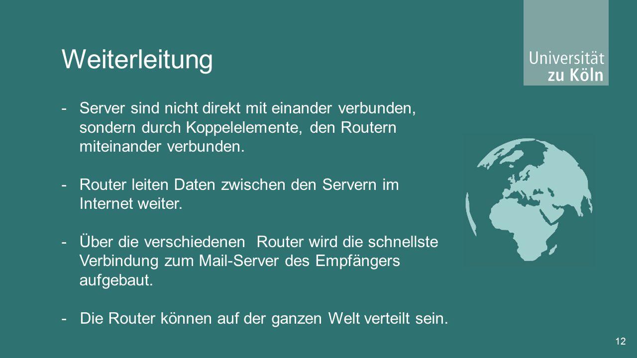12 -Server sind nicht direkt mit einander verbunden, sondern durch Koppelelemente, den Routern miteinander verbunden.