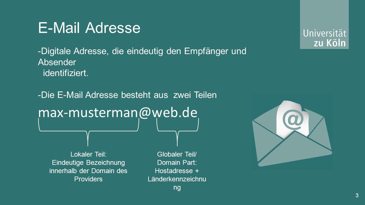 E-Mail Adresse 3 -Digitale Adresse, die eindeutig den Empfänger und Absender identifiziert.