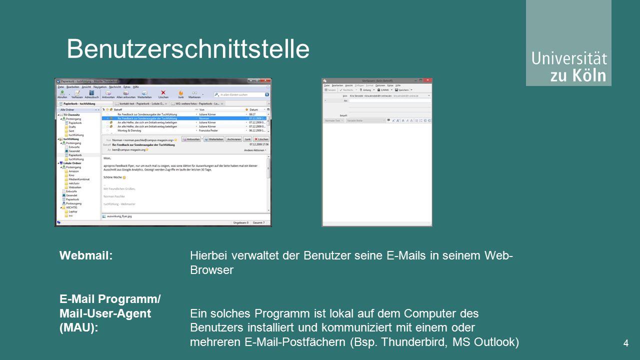 Benutzerschnittstelle 4 Webmail: E-Mail Programm/ Mail-User-Agent (MAU): Hierbei verwaltet der Benutzer seine E-Mails in seinem Web- Browser Ein solches Programm ist lokal auf dem Computer des Benutzers installiert und kommuniziert mit einem oder mehreren E-Mail-Postfächern (Bsp.