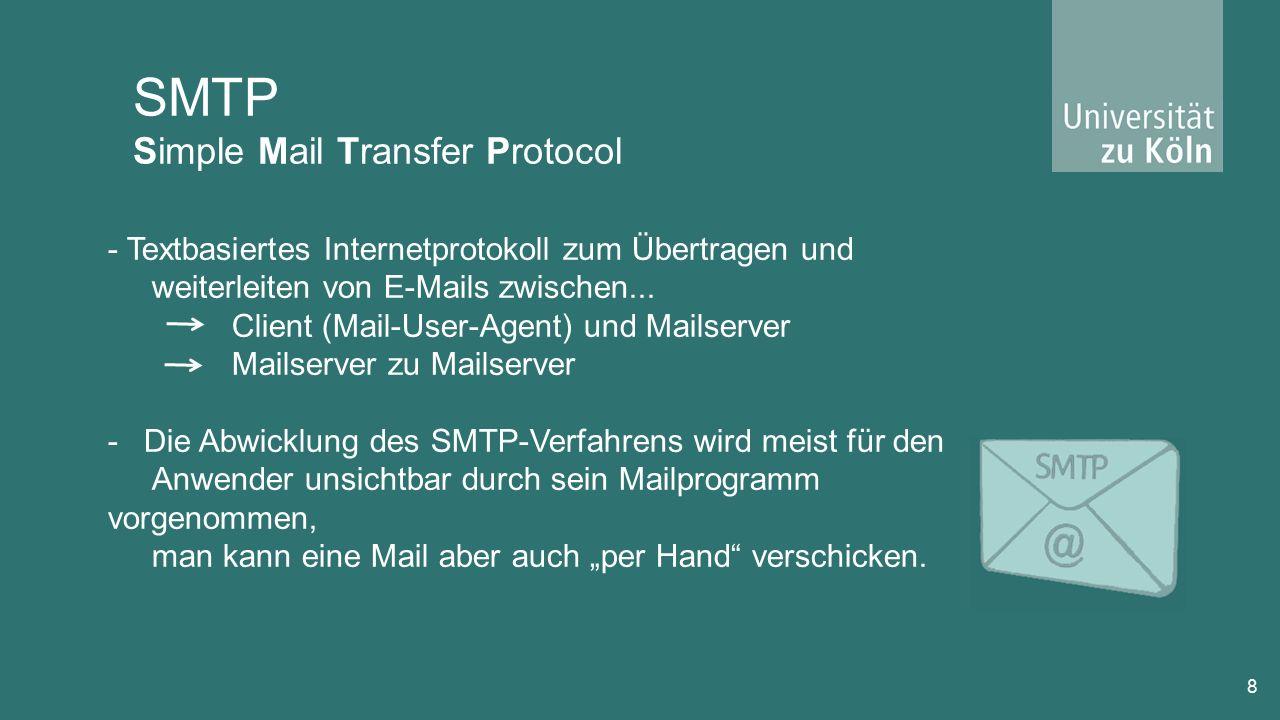 IMAP Internet Massage Access Protocol 19 -Ermöglicht Online-Zugriff auf ein E-Mail-Postfach -Wurde in den 1980ern entworfen -Mails verbleiben auf dem Server und werden beim Aufrufen von dort jedes Mal neu geladen.