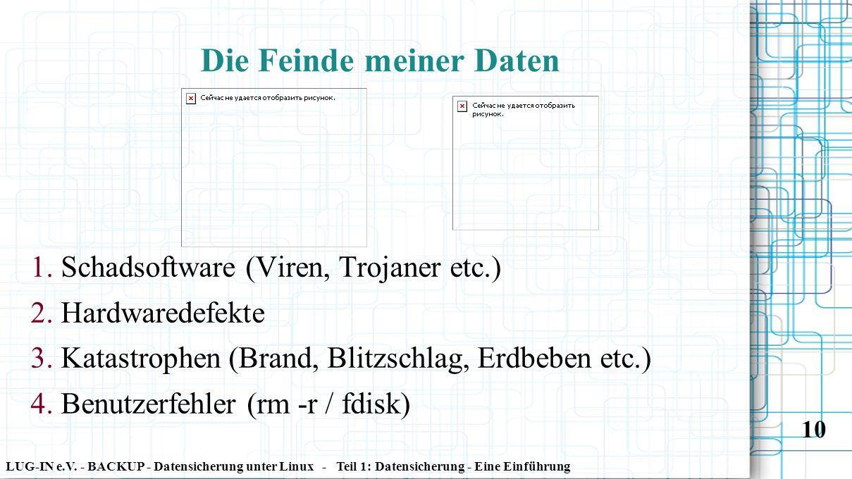 LUG-IN e.V. - BACKUP - Datensicherung unter Linux - Teil 1: Datensicherung - Eine Einführung 10 1. Schadsoftware (Viren, Trojaner etc.) 2. Hardwaredef
