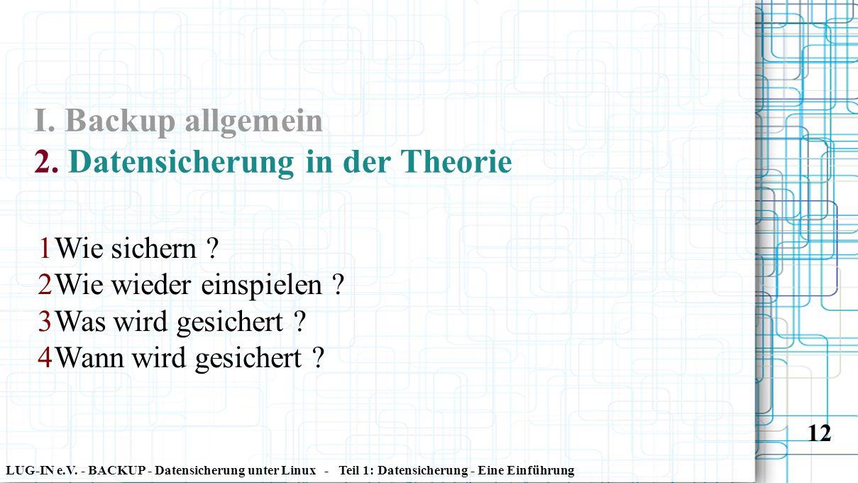 LUG-IN e.V. - BACKUP - Datensicherung unter Linux - Teil 1: Datensicherung - Eine Einführung 12 I. Backup allgemein 2. Datensicherung in der Theorie 1