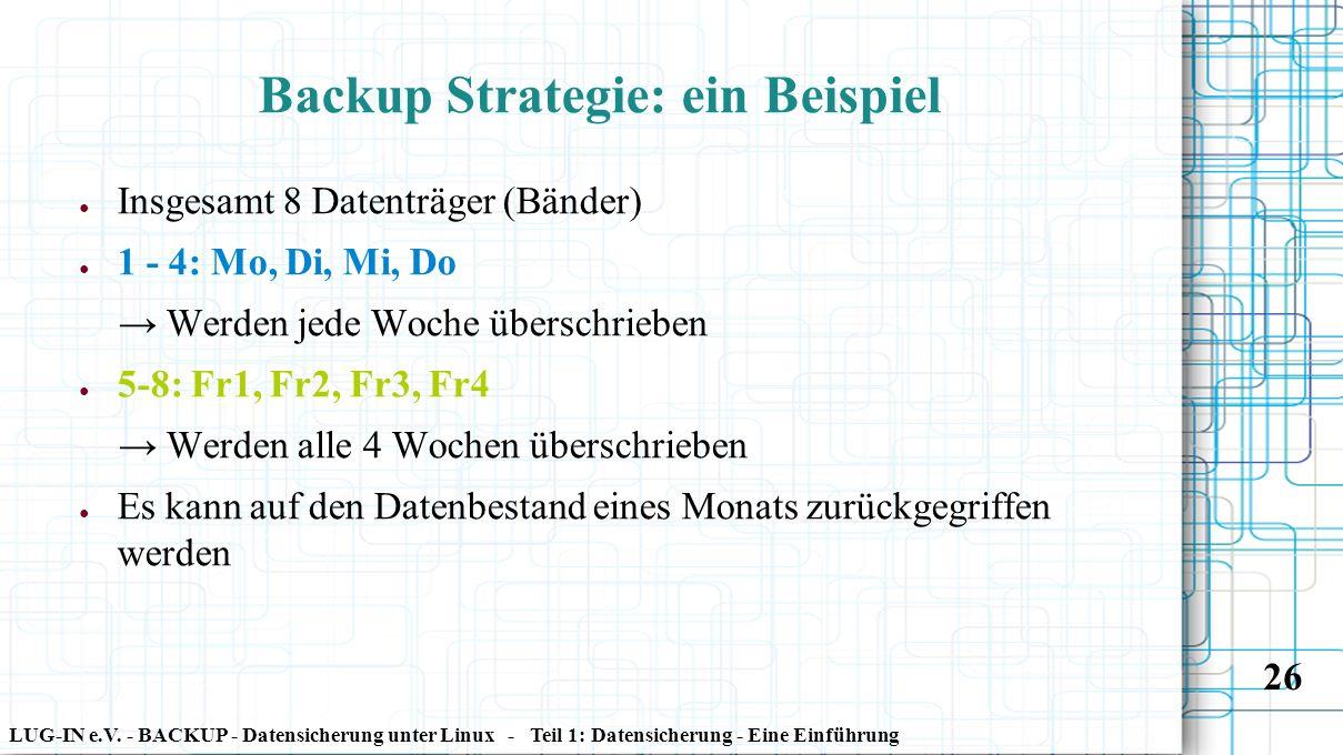 LUG-IN e.V. - BACKUP - Datensicherung unter Linux - Teil 1: Datensicherung - Eine Einführung 26 Backup Strategie: ein Beispiel ● Insgesamt 8 Datenträg