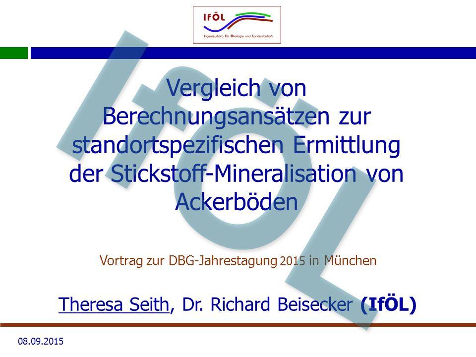 08.09.2015 Vergleich von Berechnungsansätzen zur standortspezifischen Ermittlung der Stickstoff-Mineralisation von Ackerböden Vortrag zur DBG-Jahrestagung 2015 in München Theresa Seith, Dr.