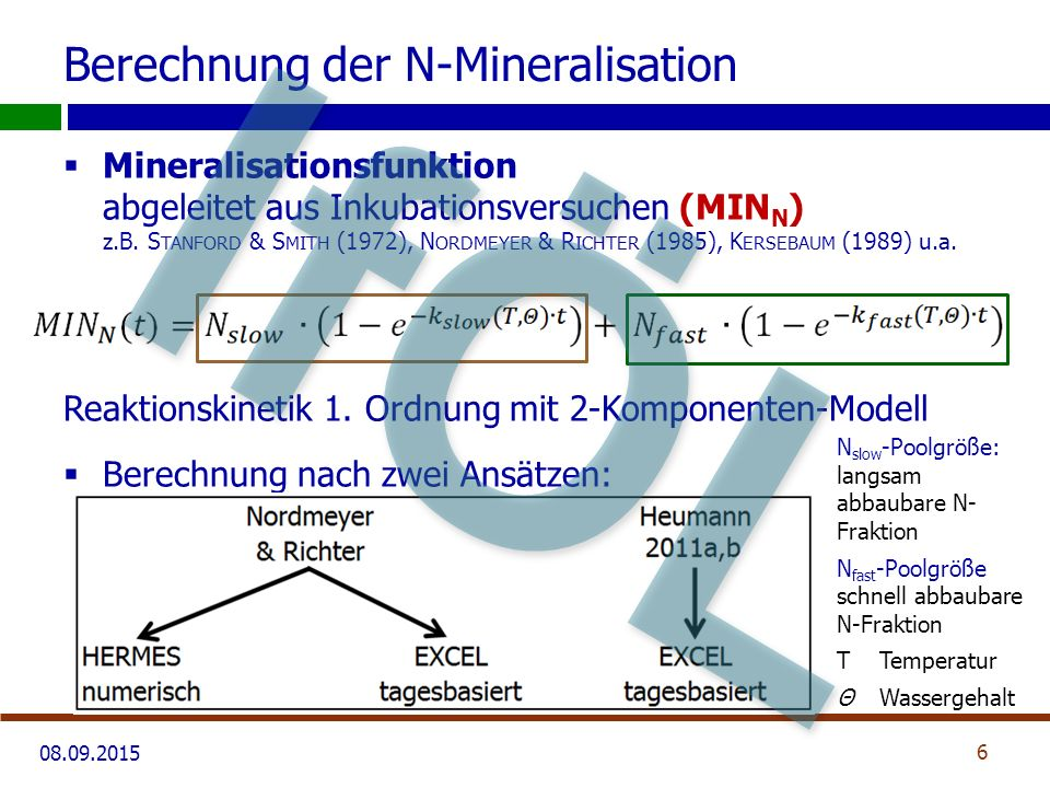 08.09.2015 Berechnung der N-Mineralisation Reaktionskoeffizienten (k-Faktoren): 7 L ORENZ, 2004 IfÖL