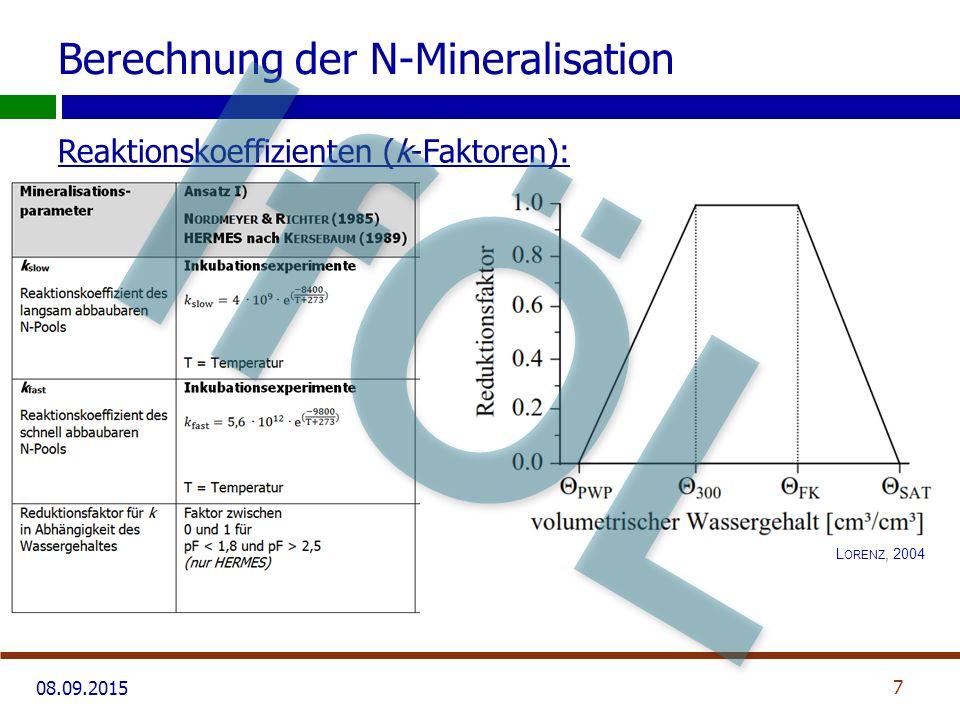 08.09.2015 Berechnung der N-Mineralisation N-Poolgrößen: 8 IfÖL