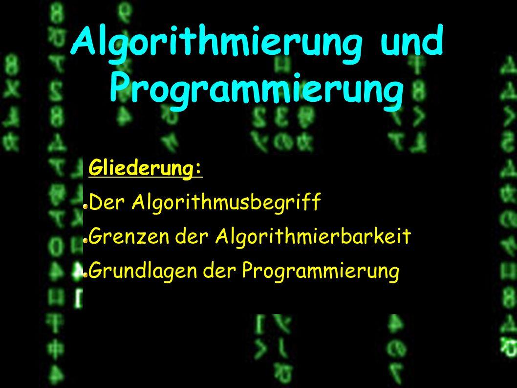 Algorithmierung und Programmierung Gliederung: Der Algorithmusbegriff Grenzen der Algorithmierbarkeit Grundlagen der Programmierung