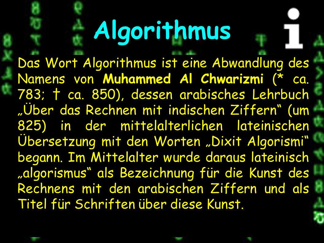 Definition Eine Berechnungsvorschrift zur Lösung eines Problems heißt genau dann Algorithmus, wenn eine zu dieser Berechnungsvorschrift äquivalente Turingmaschine existiert, die für jede Eingabe, die eine Lösung besitzt, stoppt.