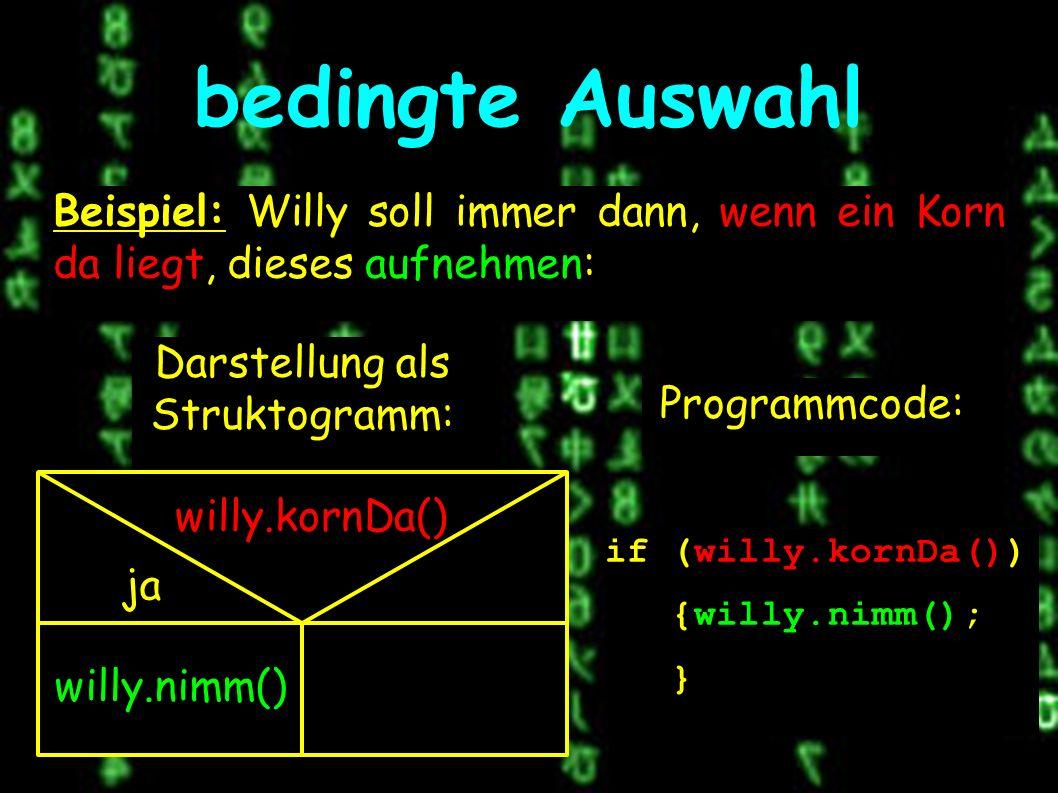 Darstellung als Struktogramm: bedingte Auswahl Beispiel: Willy soll immer dann, wenn ein Korn da liegt, dieses aufnehmen: willy.kornDa() ja willy.nimm() Programmcode: if (willy.kornDa()) {willy.nimm(); }