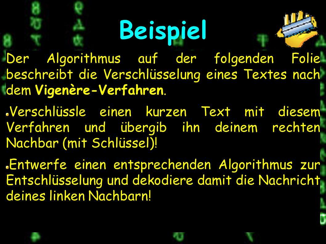 Beispiel Der Algorithmus auf der folgenden Folie beschreibt die Verschlüsselung eines Textes nach dem Vigenère-Verfahren.