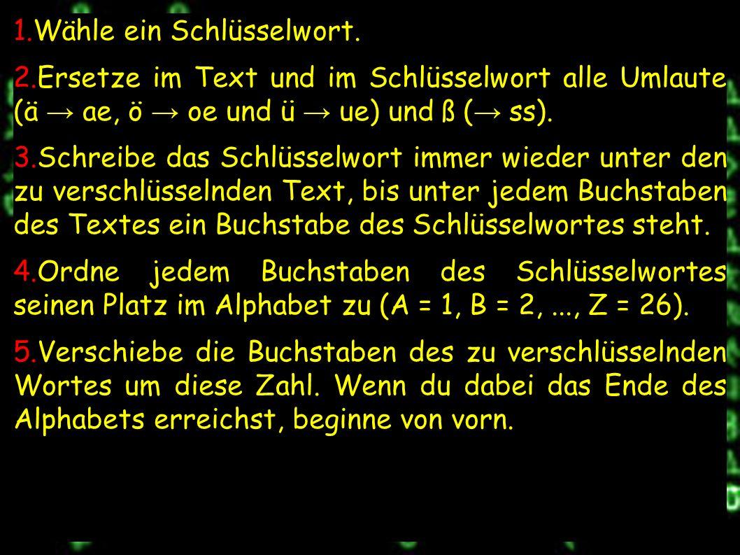 z.B.Klartext: I c h b i n g e n i.. Positionen: 9 3 8 2 9 14 7 5 14 9..