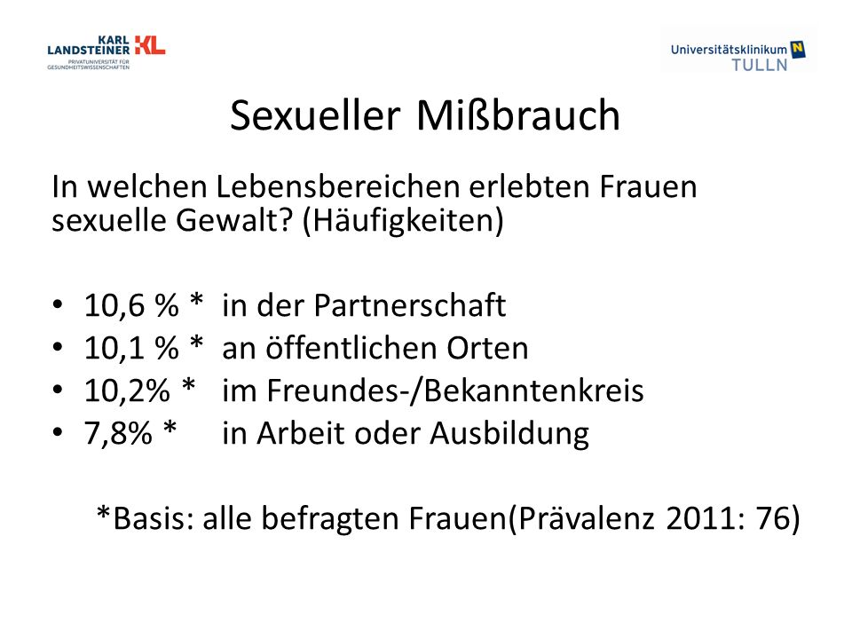 Sexueller Mißbrauch In welchen Lebensbereichen erlebten Frauen sexuelle Gewalt? (Häufigkeiten) 10,6 % * in der Partnerschaft 10,1 % * an öffentlichen
