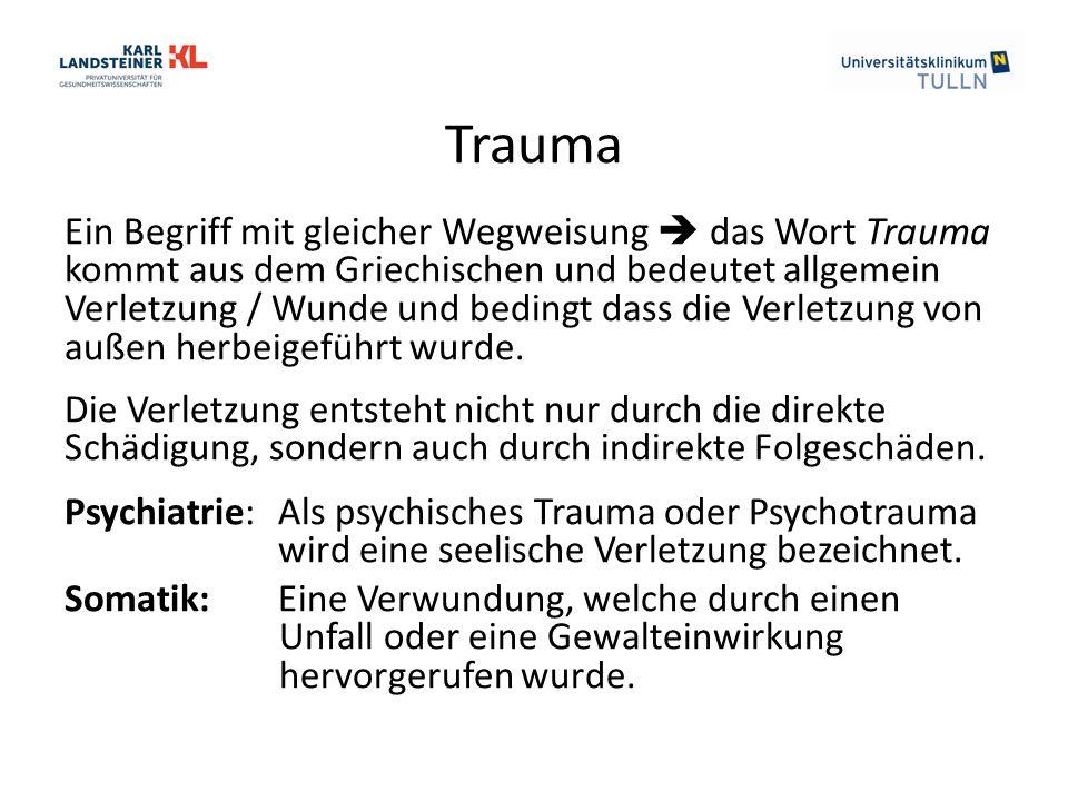 Trauma Ein Begriff mit gleicher Wegweisung  das Wort Trauma kommt aus dem Griechischen und bedeutet allgemein Verletzung / Wunde und bedingt dass die