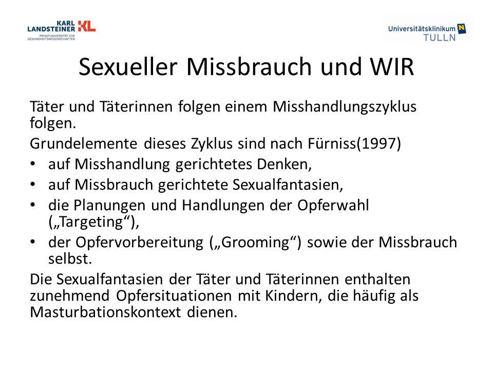 Sexueller Missbrauch und WIR Täter und Täterinnen folgen einem Misshandlungszyklus folgen. Grundelemente dieses Zyklus sind nach Fürniss(1997) auf Mis