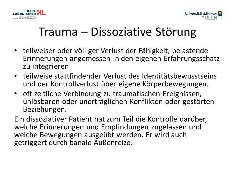 Trauma – Dissoziative Störung teilweiser oder völliger Verlust der Fähigkeit, belastende Erinnerungen angemessen in den eigenen Erfahrungsschatz zu in