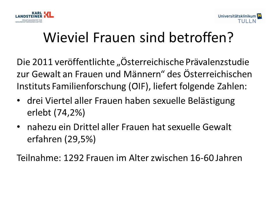 """Wieviel Frauen sind betroffen? Die 2011 veröffentlichte """"Österreichische Prävalenzstudie zur Gewalt an Frauen und Männern"""" des Österreichischen Instit"""