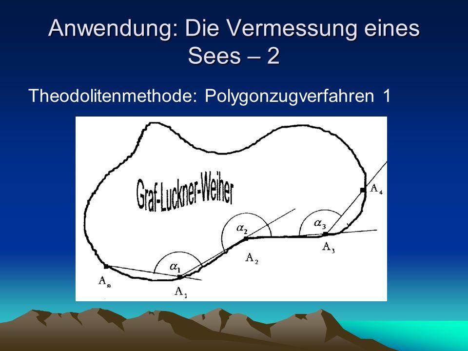 Anwendung: Die Vermessung eines Sees – 2 Theodolitenmethode: Polygonzugverfahren 1