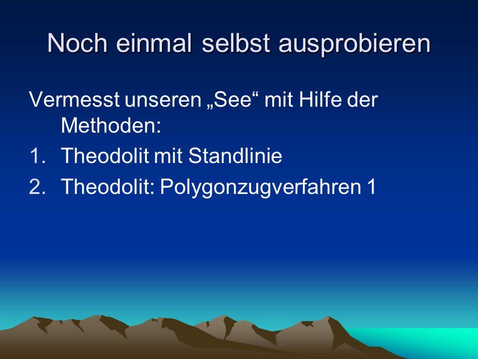 """Noch einmal selbst ausprobieren Vermesst unseren """"See"""" mit Hilfe der Methoden: 1.Theodolit mit Standlinie 2.Theodolit: Polygonzugverfahren 1"""