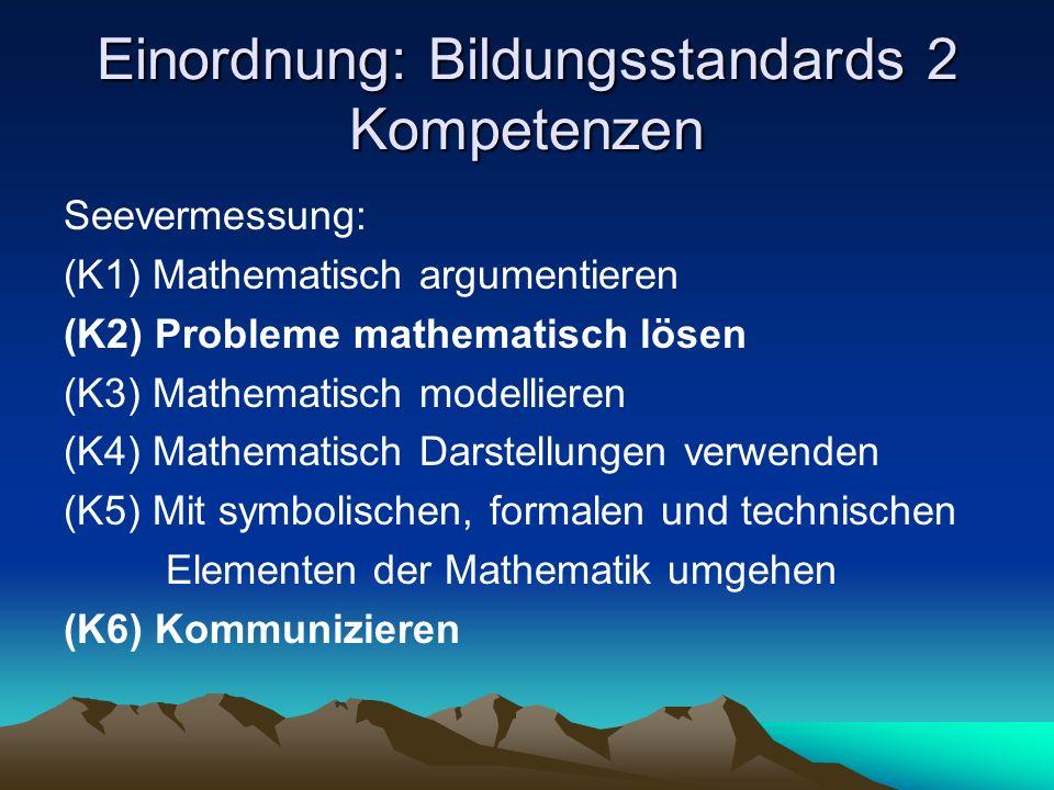 Einordnung: Bildungsstandards 2 Kompetenzen Seevermessung: (K1) Mathematisch argumentieren (K2) Probleme mathematisch lösen (K3) Mathematisch modellieren (K4) Mathematisch Darstellungen verwenden (K5) Mit symbolischen, formalen und technischen Elementen der Mathematik umgehen (K6) Kommunizieren