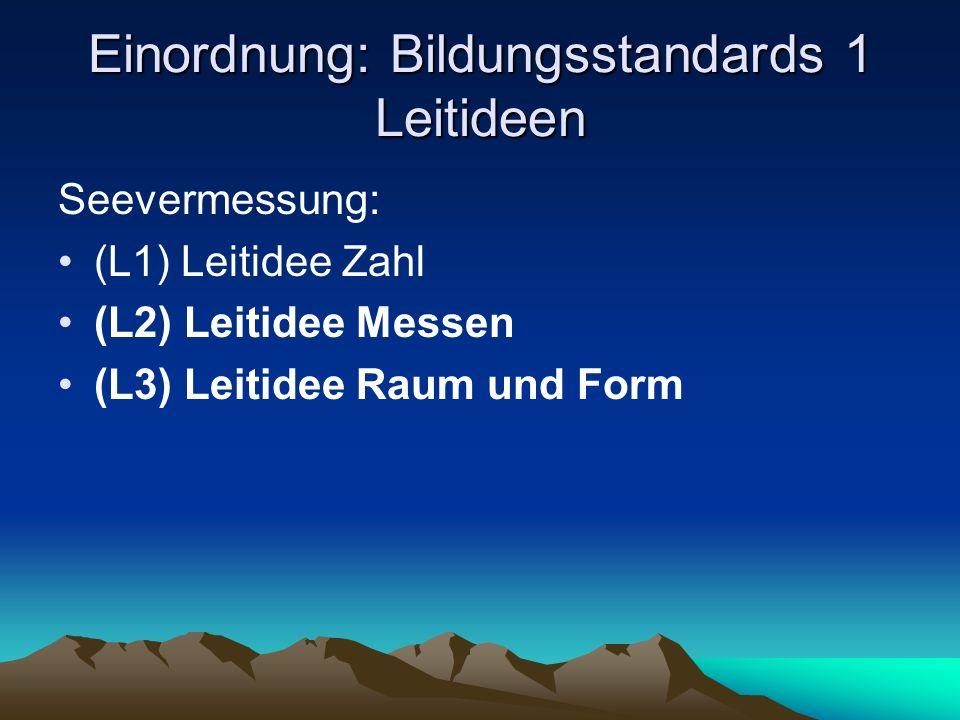Einordnung: Bildungsstandards 1 Leitideen Seevermessung: (L1) Leitidee Zahl (L2) Leitidee Messen (L3) Leitidee Raum und Form