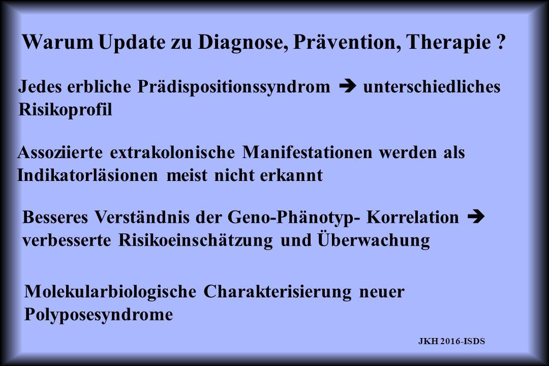 Warum Update zu Diagnose, Prävention, Therapie ? Jedes erbliche Prädispositionssyndrom  unterschiedliches Risikoprofil Assoziierte extrakolonische Ma