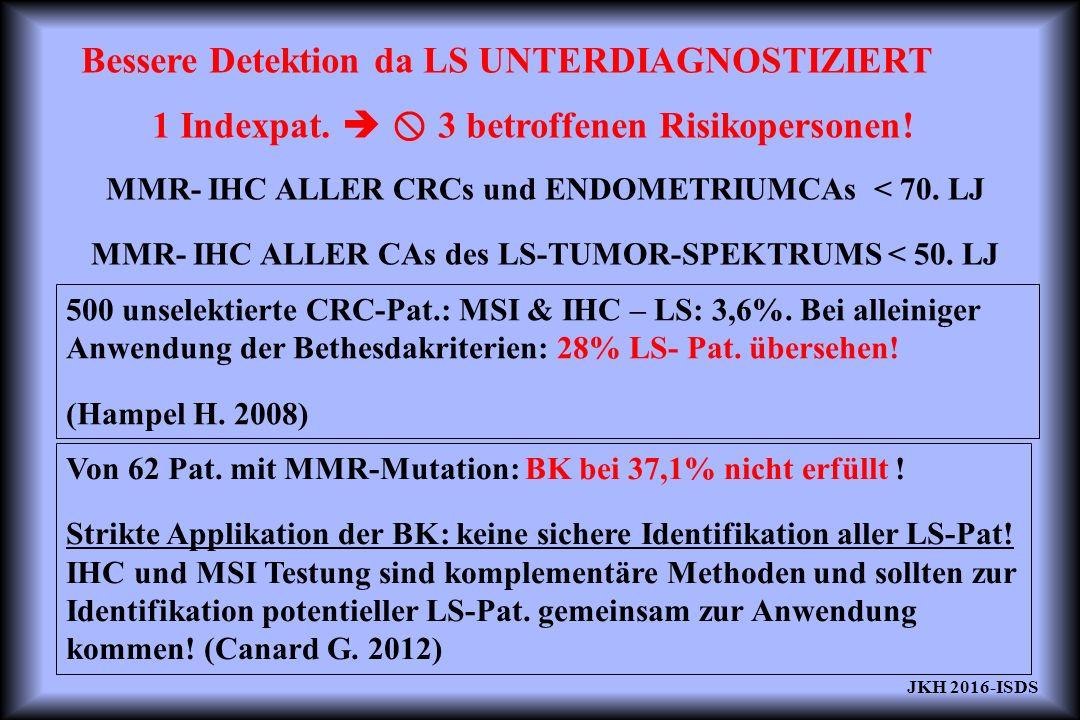 Bessere Detektion da LS UNTERDIAGNOSTIZIERT 1 Indexpat.   3 betroffenen Risikopersonen! MMR- IHC ALLER CRCs und ENDOMETRIUMCAs < 70. LJ MMR- IHC ALL