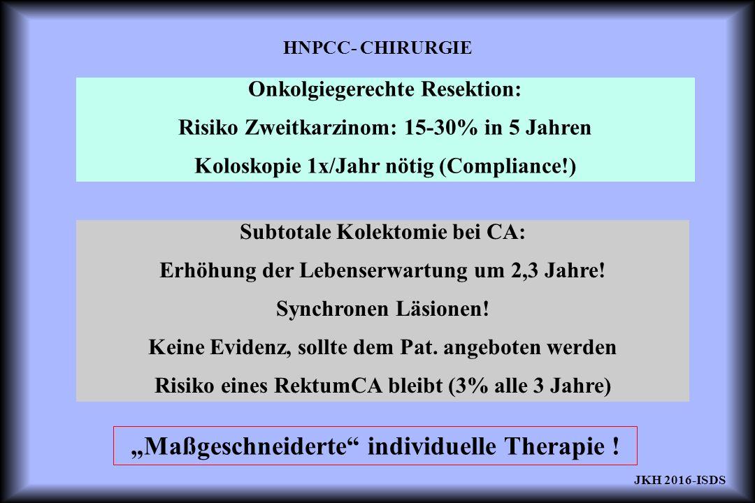 HNPCC- CHIRURGIE Onkolgiegerechte Resektion: Risiko Zweitkarzinom: 15-30% in 5 Jahren Koloskopie 1x/Jahr nötig (Compliance!) Subtotale Kolektomie bei CA: Erhöhung der Lebenserwartung um 2,3 Jahre.
