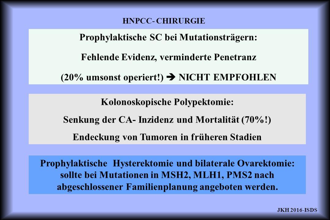HNPCC- CHIRURGIE Prophylaktische SC bei Mutationsträgern: Fehlende Evidenz, verminderte Penetranz (20% umsonst operiert!)  NICHT EMPFOHLEN Kolonoskopische Polypektomie: Senkung der CA- Inzidenz und Mortalität (70%!) Endeckung von Tumoren in früheren Stadien Prophylaktische Hysterektomie und bilaterale Ovarektomie: sollte bei Mutationen in MSH2, MLH1, PMS2 nach abgeschlossener Familienplanung angeboten werden.