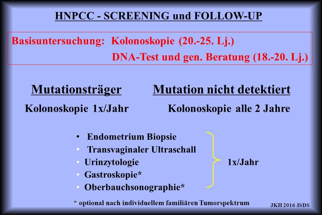 HNPCC - SCREENING und FOLLOW-UP MutationsträgerMutation nicht detektiert Kolonoskopie 1x/Jahr Kolonoskopie alle 2 Jahre Endometrium Biopsie Transvaginaler Ultraschall Urinzytologie 1x/Jahr Gastroskopie* Oberbauchsonographie* * * optional nach individuellem familiären Tumorspektrum Basisuntersuchung: Kolonoskopie (20.-25.