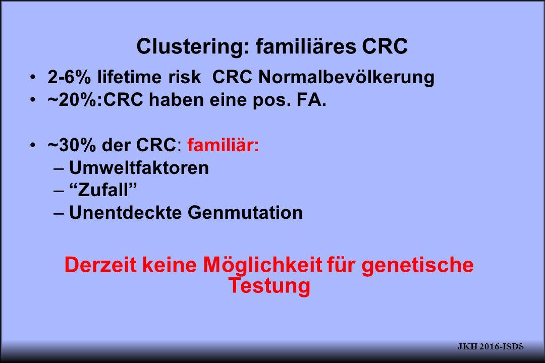 """Clustering: familiäres CRC 2-6% lifetime risk CRC Normalbevölkerung ~20%:CRC haben eine pos. FA. ~30% der CRC: familiär: –Umweltfaktoren –""""Zufall"""" –Un"""