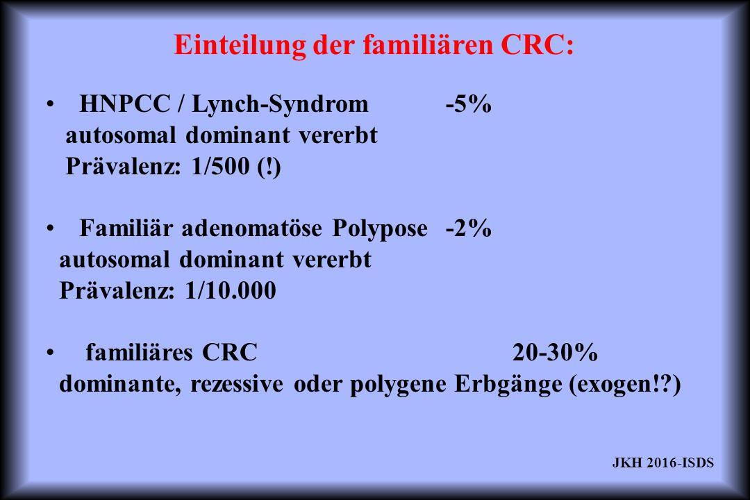 HNPCC / Lynch-Syndrom-5% autosomal dominant vererbt Prävalenz: 1/500 (!) Familiär adenomatöse Polypose-2% autosomal dominant vererbt Prävalenz: 1/10.000 familiäres CRC20-30% dominante, rezessive oder polygene Erbgänge (exogen! ) Einteilung der familiären CRC: JKH 2016-ISDS