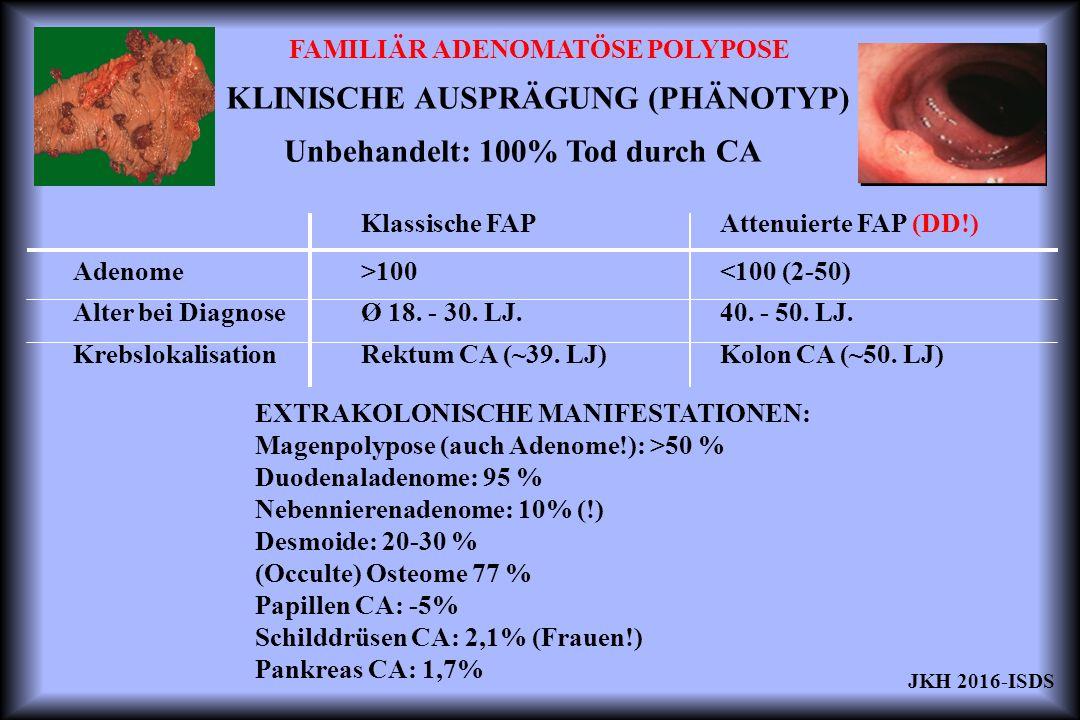 FAMILIÄR ADENOMATÖSE POLYPOSE KLINISCHE AUSPRÄGUNG (PHÄNOTYP) Klassische FAP >100 Ø 18. - 30. LJ. Rektum CA (~39. LJ) Attenuierte FAP (DD!) <100 (2-50