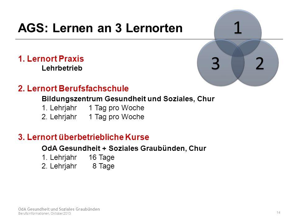 AGS: Lernen an 3 Lernorten 1. Lernort Praxis Lehrbetrieb 2.