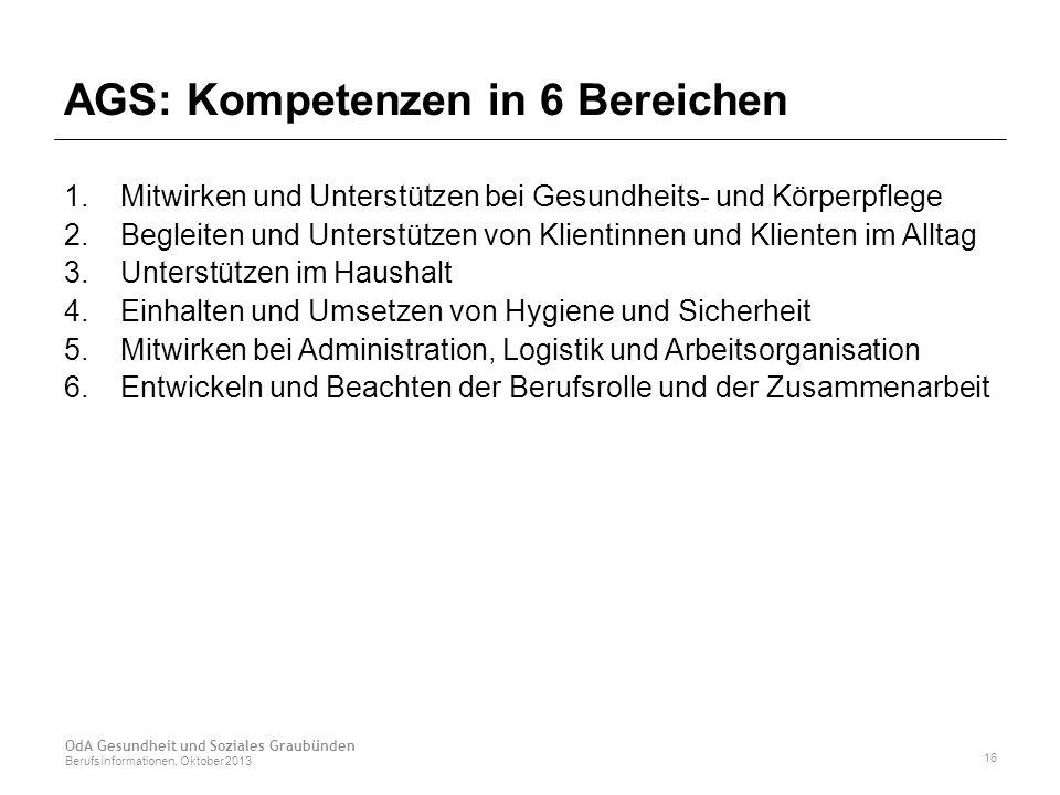 AGS: Kompetenzen in 6 Bereichen 1. Mitwirken und Unterstützen bei Gesundheits- und Körperpflege 2.