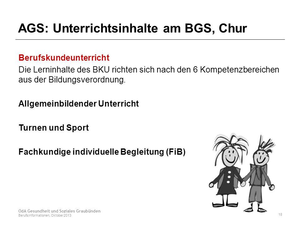 AGS: Unterrichtsinhalte am BGS, Chur Berufskundeunterricht Die Lerninhalte des BKU richten sich nach den 6 Kompetenzbereichen aus der Bildungsverordnung.