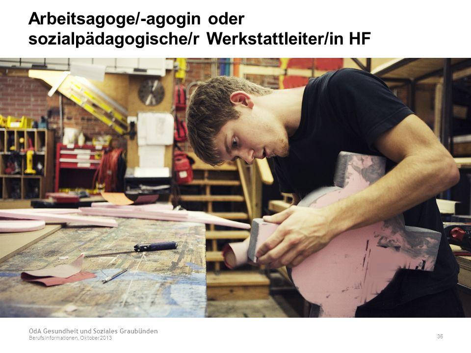 Arbeitsagoge/-agogin oder sozialpädagogische/r Werkstattleiter/in HF OdA Gesundheit und Soziales Graubünden Berufsinformationen, Oktober 2013 35
