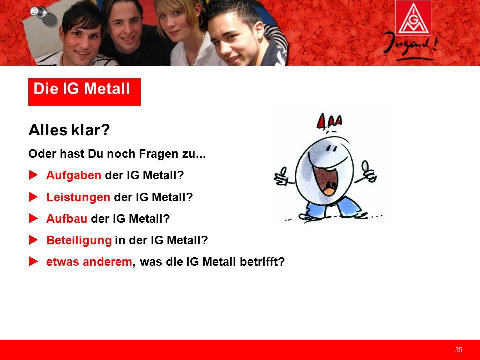 35 Die IG Metall Alles klar. Oder hast Du noch Fragen zu...