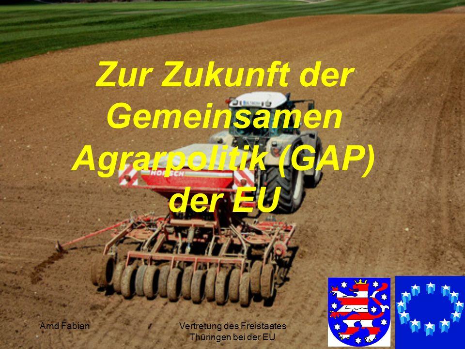 Arnd FabianVertretung des Freistaates Thüringen bei der EU 2 1.Situation 2.Historie 3.Thüringer Besonderheiten 4.GAP nach 2013 5.Was nun?