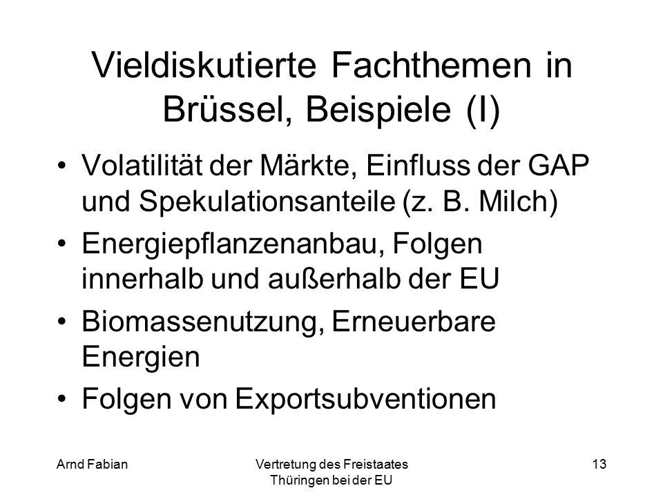 Arnd FabianVertretung des Freistaates Thüringen bei der EU 13 Vieldiskutierte Fachthemen in Brüssel, Beispiele (I) Volatilität der Märkte, Einfluss der GAP und Spekulationsanteile (z.