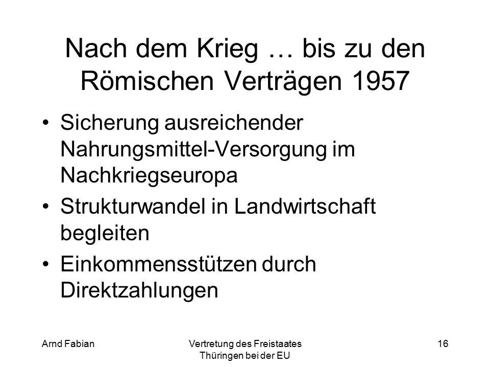 Arnd FabianVertretung des Freistaates Thüringen bei der EU 16 Nach dem Krieg … bis zu den Römischen Verträgen 1957 Sicherung ausreichender Nahrungsmittel-Versorgung im Nachkriegseuropa Strukturwandel in Landwirtschaft begleiten Einkommensstützen durch Direktzahlungen