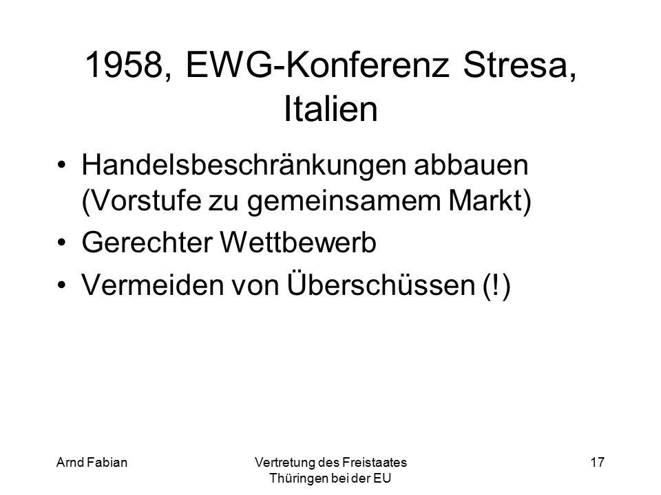 Arnd FabianVertretung des Freistaates Thüringen bei der EU 17 1958, EWG-Konferenz Stresa, Italien Handelsbeschränkungen abbauen (Vorstufe zu gemeinsamem Markt) Gerechter Wettbewerb Vermeiden von Überschüssen (!)