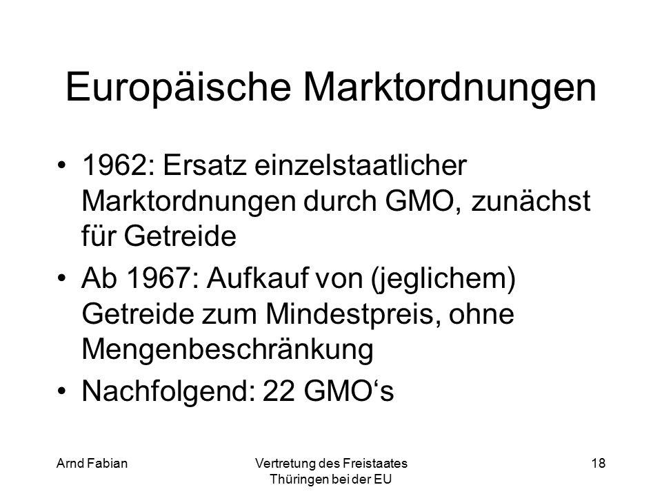 Arnd FabianVertretung des Freistaates Thüringen bei der EU 18 Europäische Marktordnungen 1962: Ersatz einzelstaatlicher Marktordnungen durch GMO, zunächst für Getreide Ab 1967: Aufkauf von (jeglichem) Getreide zum Mindestpreis, ohne Mengenbeschränkung Nachfolgend: 22 GMO's