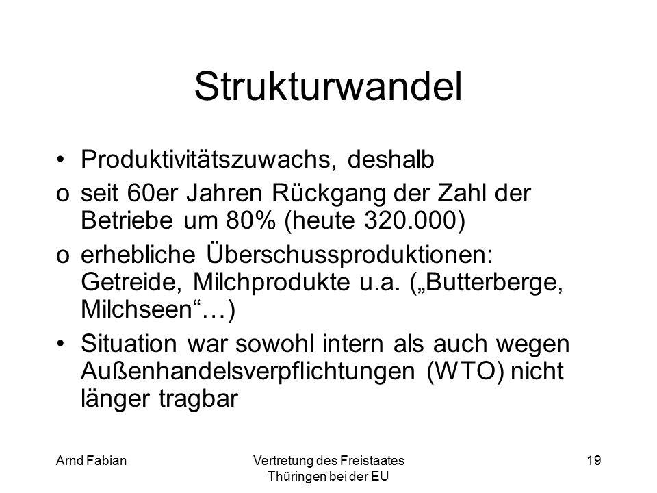 Arnd FabianVertretung des Freistaates Thüringen bei der EU 19 Strukturwandel Produktivitätszuwachs, deshalb oseit 60er Jahren Rückgang der Zahl der Betriebe um 80% (heute 320.000) oerhebliche Überschussproduktionen: Getreide, Milchprodukte u.a.